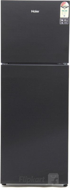 Haier 345 L 3 Star Frost-Free Double-Door Refrigerator (HRB-3654PKG, Black, Glass Finish, Bottom Freezer)