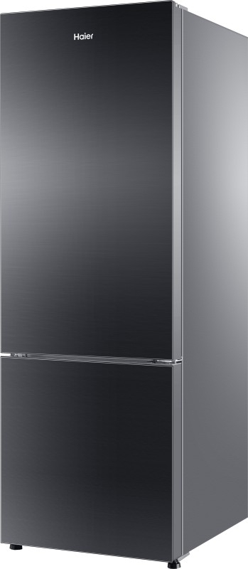 Haier 320 L 3 Star Frost-Free Double-Door Refrigerator (HRB-3404PKG, Black, Glass Finish, Bottom Freezer)