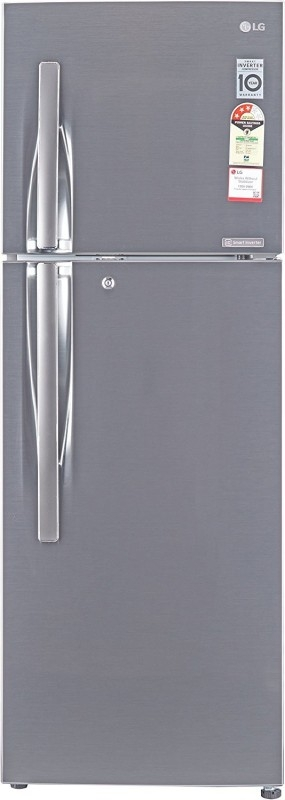 LG 255 L 3 Star Frost-Free Double-Door Refrigerator (GL-Q282RPZY, Shiny Steel, Inverter Compressor)