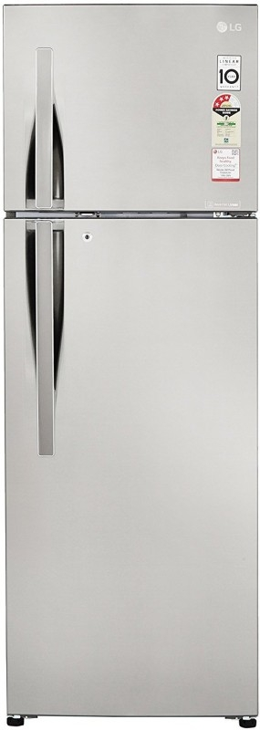 LG 308 L 3 Star Frost-Free Double-Door Refrigerator (GL-C322RPZU, Shiny Steel, Inverter Compressor)
