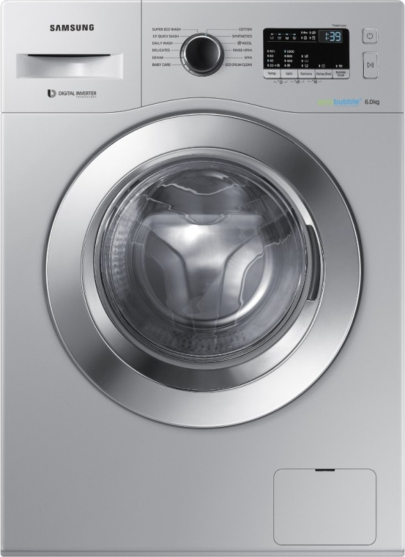 Samsung 6 kg Fully-Automatic Front Loading Washing Machine (WW60M204K0S/TL, Silver)